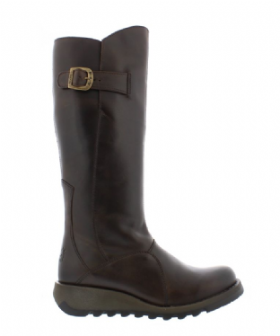 FLY London MOL 2 Womens Dark Brown Leather Boots